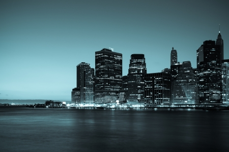 New York - Panoramic view of Manhattan Skyline by night photo