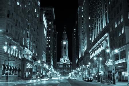town halls: Philadelphia city hall  by night , Pennsylvania USA