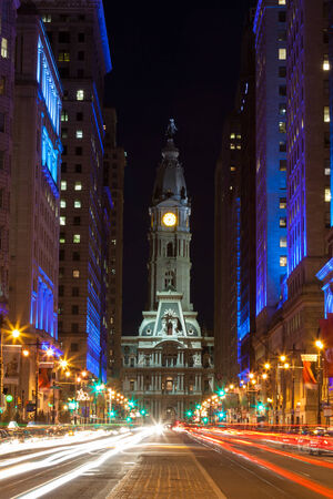 Philadelphia city hall  by night , Pennsylvania USA photo