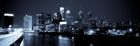 Panoramic view of Philadelphia Skyline  by night Stock Photo - 24140830