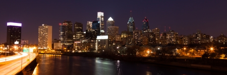 liberty bell: Panoramic view of Philadelphia Skyline  by night