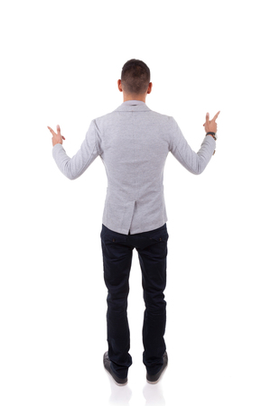 hesitating: Young african american business hesitating between different ways, left or right, over white background - Black people