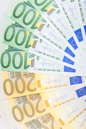 euro bill: Euro banknotes  spread over the floor - European currency