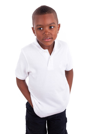 Portrait of a cute african american little boy - Black people , isolated on white background photo