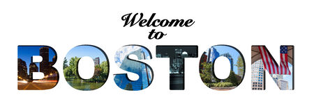 Welcome to Boston text and photo collage photo