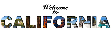 julia pfeiffer burns: Welcome to California text picture collage Stock Photo