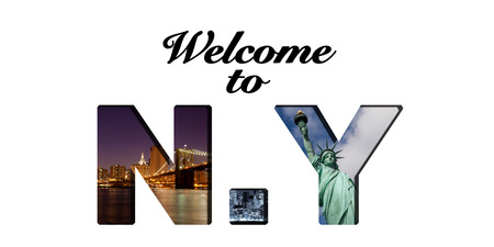 Welcome to new York text and photo collage photo
