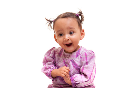 Cute little african american baby girl- Black people, isolated on white background Stock Photo