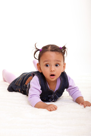 Cute little african american baby girl- Black people, isolated on white background photo