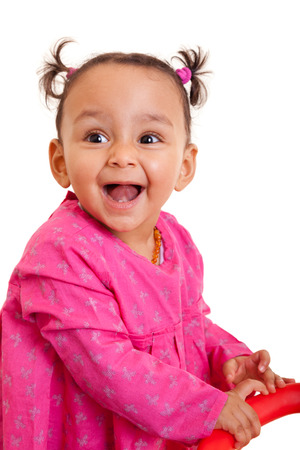 cute baby girls: Cute little african american baby girl- Black people, isolated on white background Stock Photo
