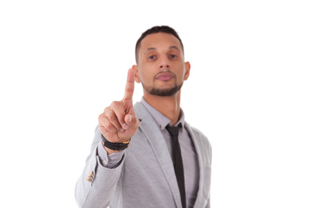 south american: African American business man touching a transparent screen - Black people, isolated on white background