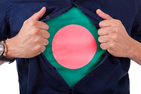 Young sport fan opening his shirt and showing the flag his country Bangladesh, Bangladeshi flag photo