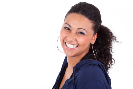 pretty black woman: Portrait of a young African American woman holding her head, isolated on white background