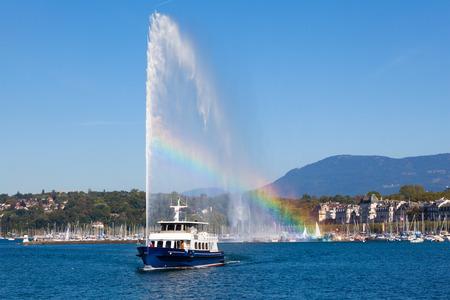 Le jet d'eau le symbole de la ville de Genève en Suisse Banque d'images - 26667402
