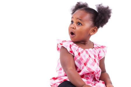 little girl surprised: Surprised little african american girl, isolated on white background