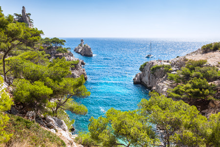 rhone: Calanques near Marseille and Cassis in south of France Stock Photo