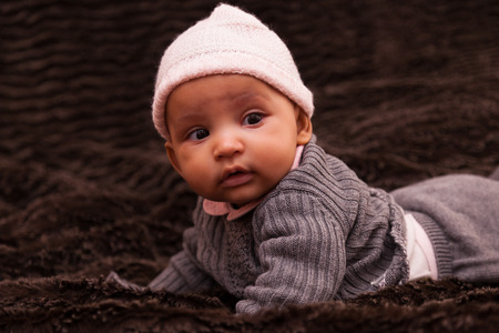 latin child: Adorable little african american baby girl - Black people