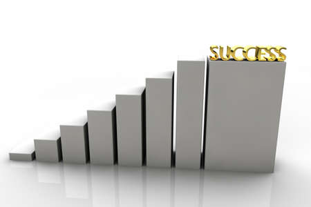 perseverance: 3D chart with gold success in the last step