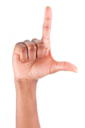 index finger: African American hand making l letter gesture, isolated on white background