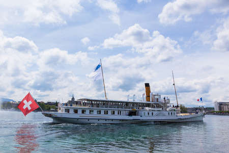 leman: Boat sailing in the leman lake in Switzerland