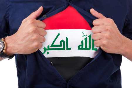 iraqi: Young sport fan opening his shirt and showing the flag his country Iraq, Iraqi flag