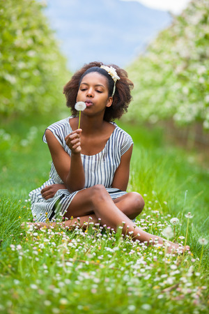 Outdoor portrait of a young beautiful african american woman blowing a dandelion flower - Black people Stock Photo