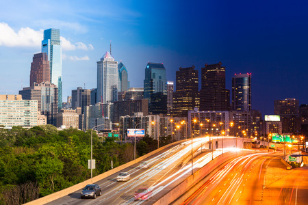 day night: Day and Night view of Philadelphia skyline - USA Stock Photo