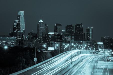streak: Philadelphia skyline by night - Pennsylvania - USA Stock Photo