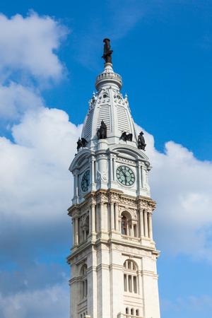 Philadelphia city hall tower over a cloudy sky -  Pennsylvania - USA