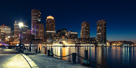 Panoramic view of Boston skyline by night - Massachusetts - USA