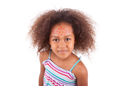 painting face: Cute young African American  girl white painting on the face, isolated on white background - Black people