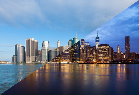 Montage of Manhattan skyline night to day - New york - USA photo