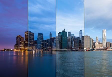 日 - ニューヨーク - 米国にマンハッタンのスカイラインの夜のモンタージュ