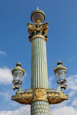 lamp post: Close up of a Paris street lamp - France