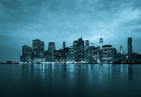 new york at night: New York - Panoramic view of Manhattan Skyline by night Stock Photo