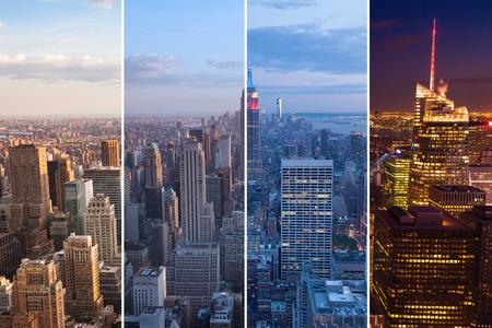 Montage de Manhattan la nuit au jour - New York - Etats-Unis Banque d'images