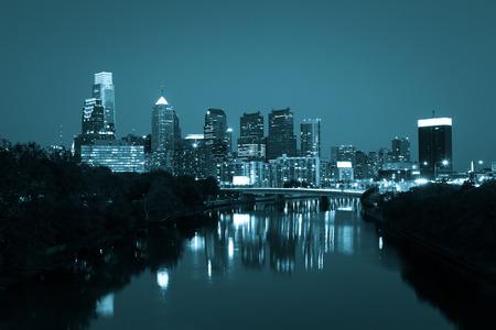 Night view of the Philadelphia skyline in pennsylvania photo