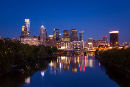 Night view of the Philadelphia skyline in pennsylvania photo