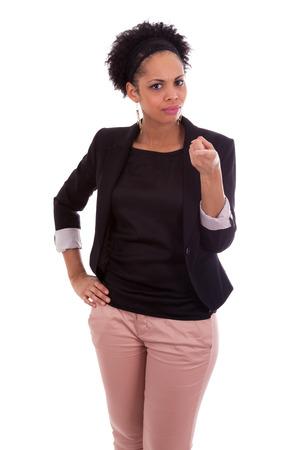 dedo se�alando: Mujer de negocios dedo afroamericana se�alando, aislados en fondo blanco - los negros Foto de archivo