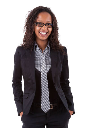 Smiling african american business woman, Isolated over white background photo