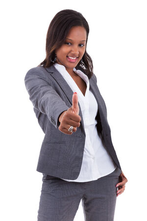 African american business woman making thumbs up gesture - Black people, isolated on white background photo