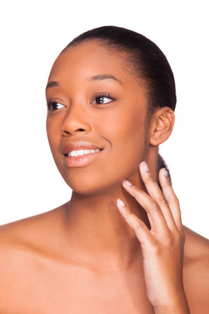african american spa: Beautiful african american woman face- Black people, Isolated over white background Stock Photo