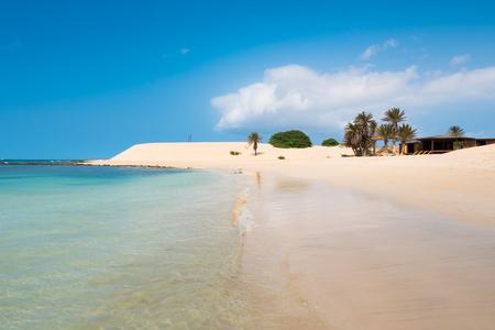 verde: Chaves beach Praia de Chaves in Boavista Cape Verde - Cabo Verde Stock Photo