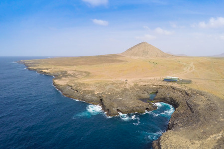 eyes cave: Aerial view of Buracona  in sal Island Cape Verde - Cabo Verde Stock Photo