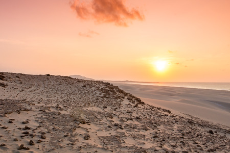 praia: Sunset on sand dunes  in Chaves beach Praia de Chaves in Boavista Island Cape Verde - Cabo Verde Stock Photo