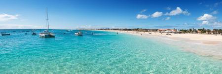 santa maria: Panoramic view of Santa Maria beach in Sal Cape Verde - Cabo Verde