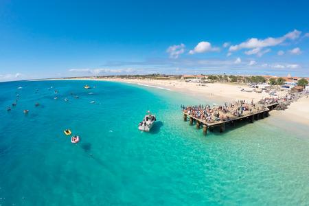 Vue aérienne de la plage de Santa Maria in Sal Cap-Vert - Cabo Verde