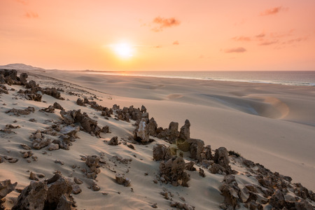 Sunset on sand dunes  in Chaves beach Praia de Chaves in Boavista Island Cape Verde - Cabo Verde Stock Photo