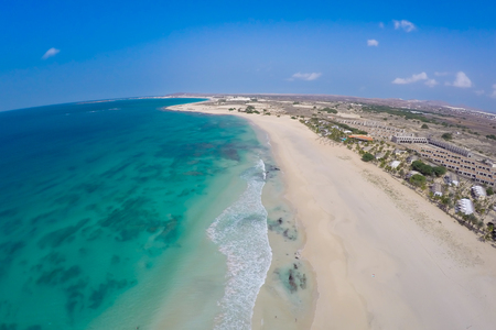 praia: Aerial view on sand dunes in Chaves beach Praia de Chaves in Boavista Cape Verde - Cabo Verde