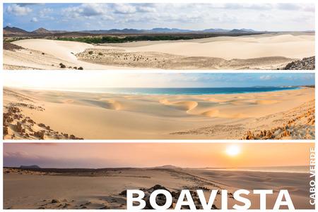 cape verde: Picture montage of Boavista island landscapes  in Cape Verde archipel